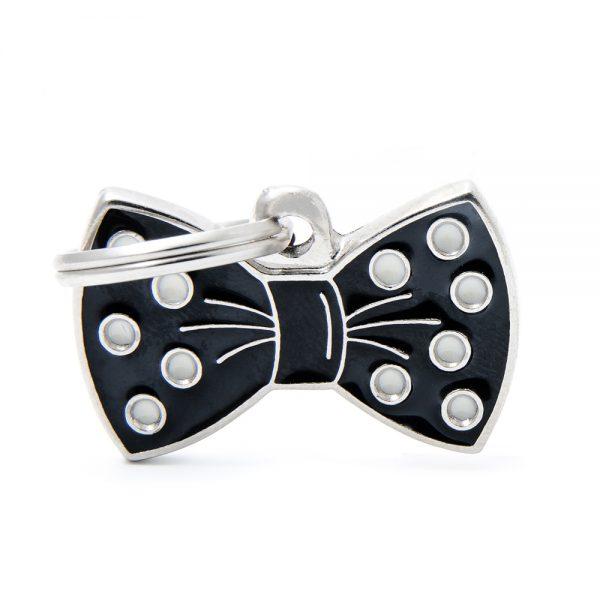 Bow Tie Black Pet ID Tag
